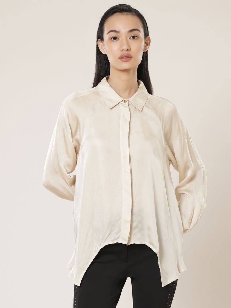 Ecru Asymmetric Satin Shirt