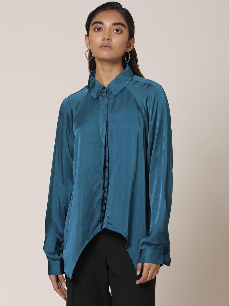 Teal Asymmetric Satin Shirt