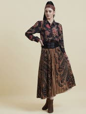 Gold & Black Pleated Skirt