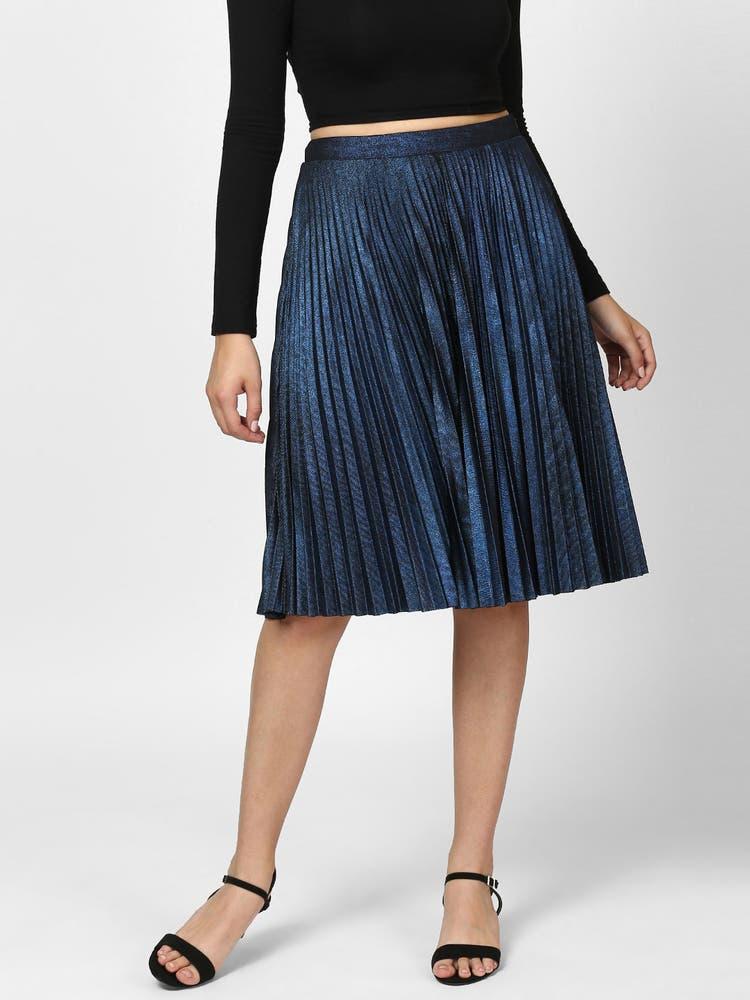Blue Pleated Metallic Skirt