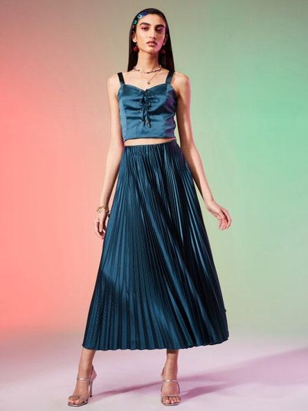Teal Pleated Flared Skirt