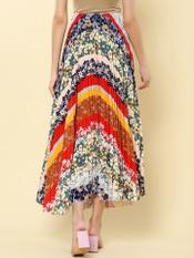 Multi-Color Floral Print Velvet Pleated Skirt
