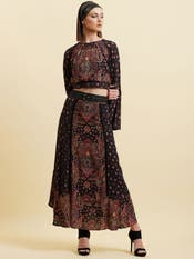 Dia Mirza in a Black Paisley Midi Skirt