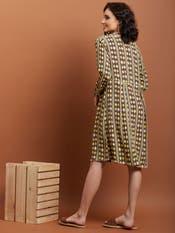 Purple Geometric Print Shirt Dress
