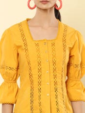 Mustard Poplin Top with Lace Inserts