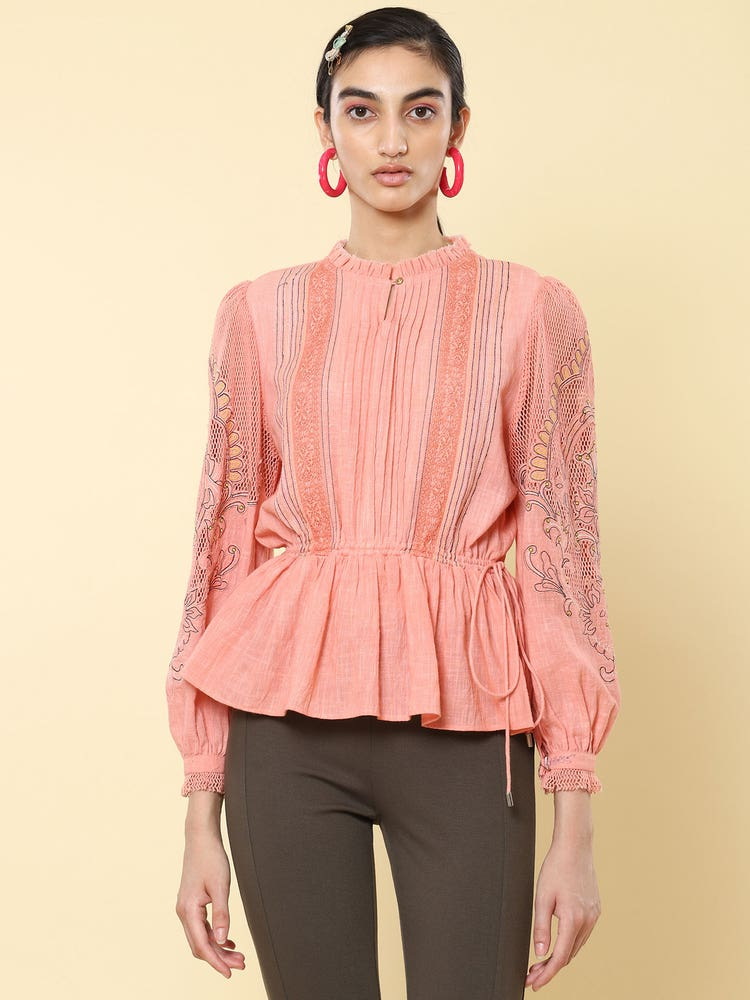 Pink Cotton Embroidered Top