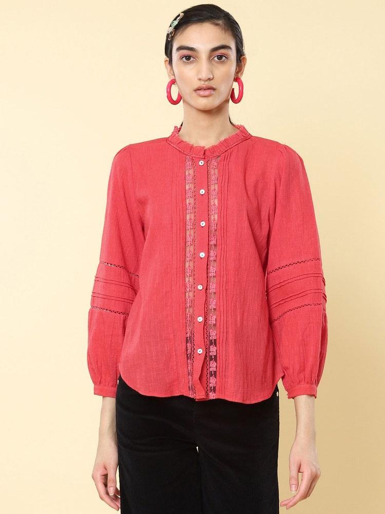 Fuchsia Embroidered Cotton Shirt