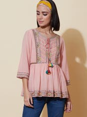 Pink Embroidered Tiered Top