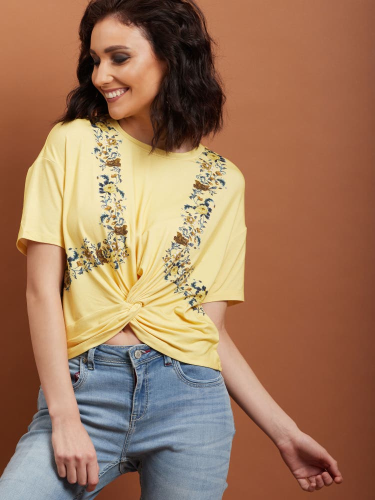 Lime Yellow Floral Knot Top