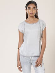 Grey Crushed Cap Sleeves Top