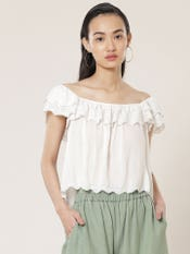 White Embroidered Off-Shoulder Top