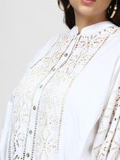 Hansika Motwani in a White Cut-Work Top