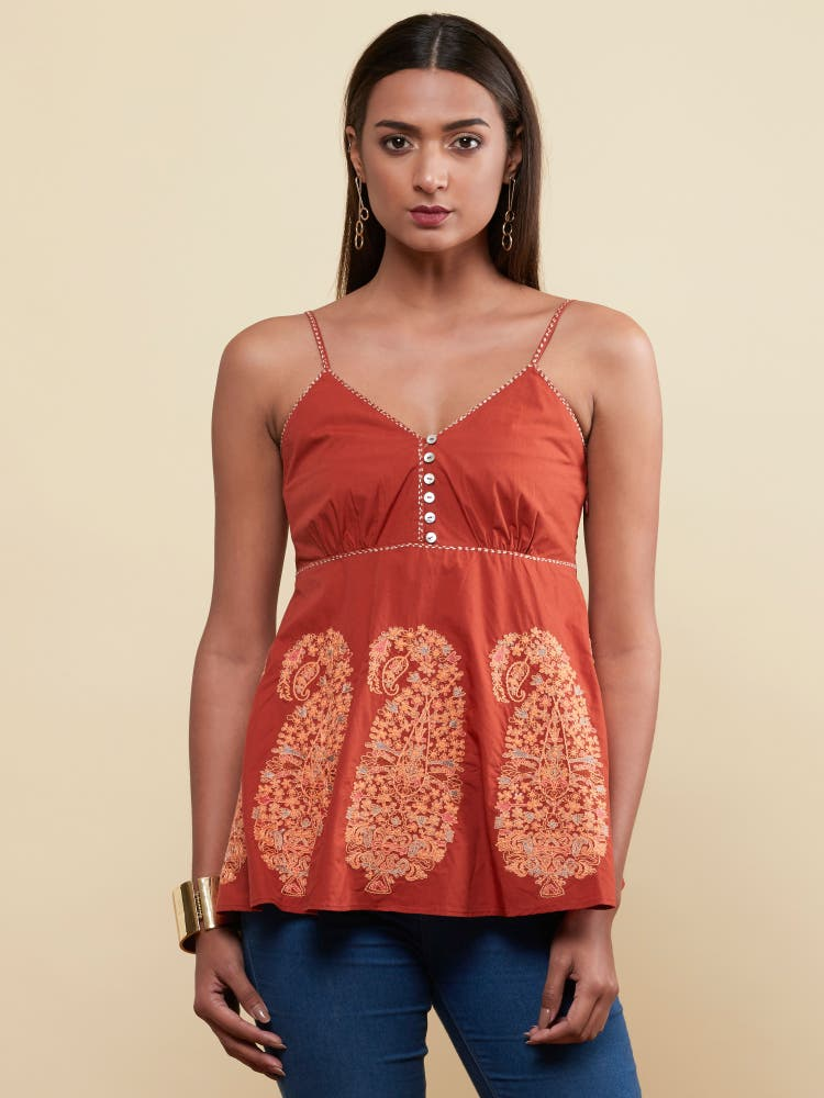 Rust Floral Strappy Top