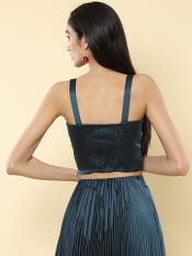Teal Front Tie Up Strappy Crop Top