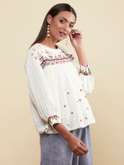 Ecru Embroidered Peasant Top