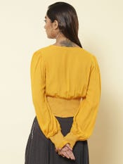 Yellow Smocked Crop Top