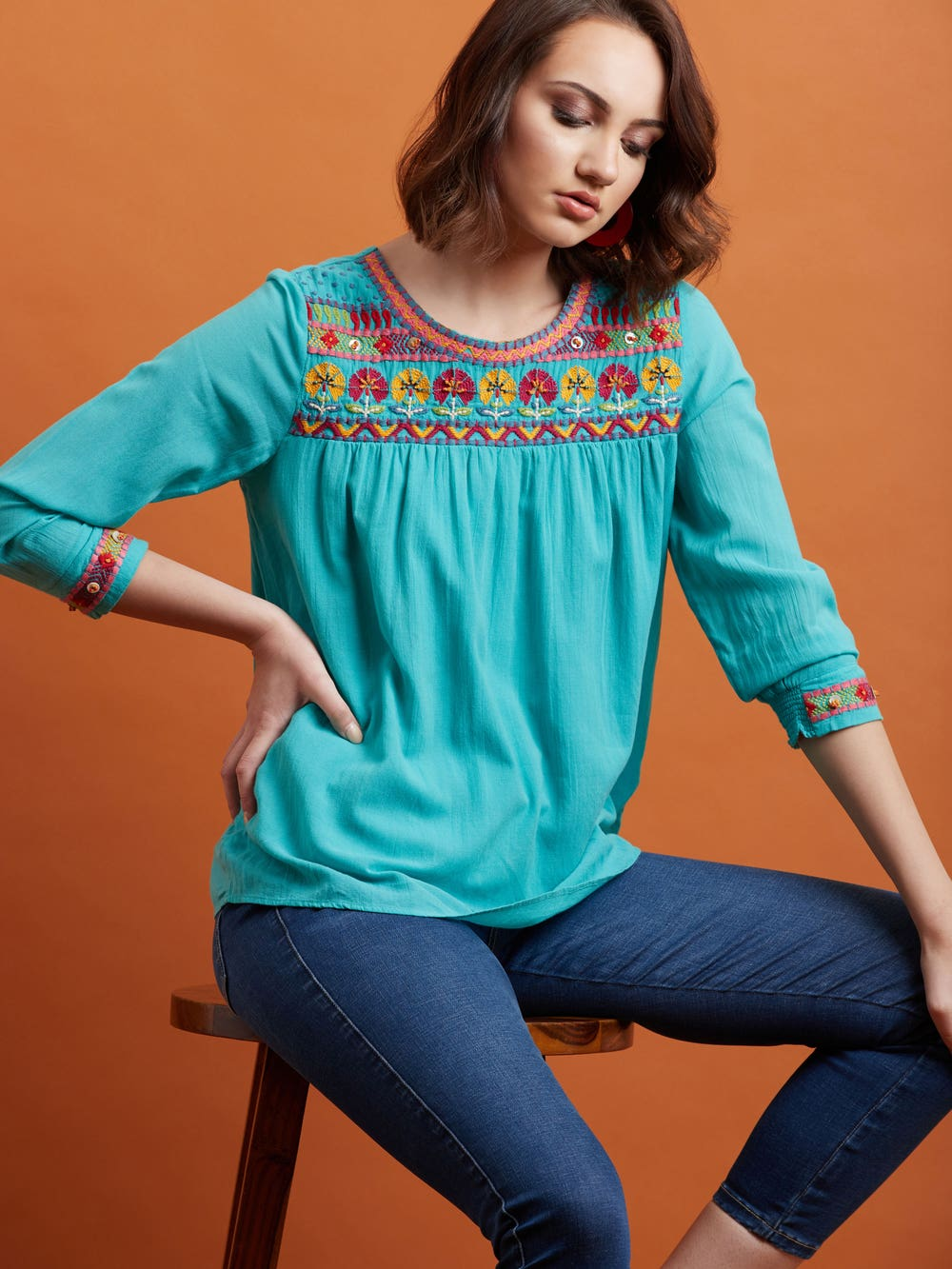 Teal Abstract Embroidered Top
