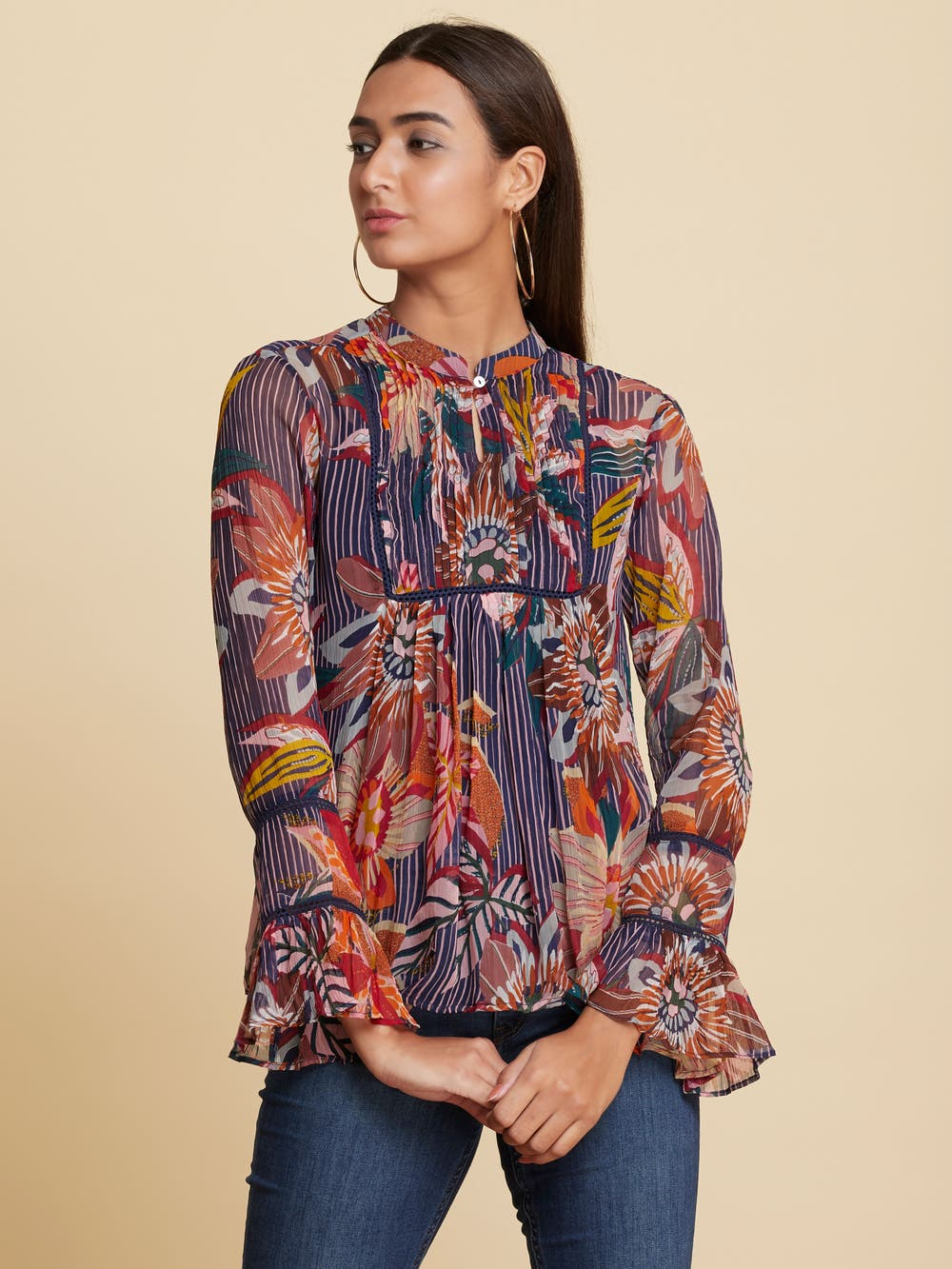 Navy Blue Floral Print Layered Top