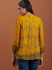 Yellow Floral Print Chiffon Top