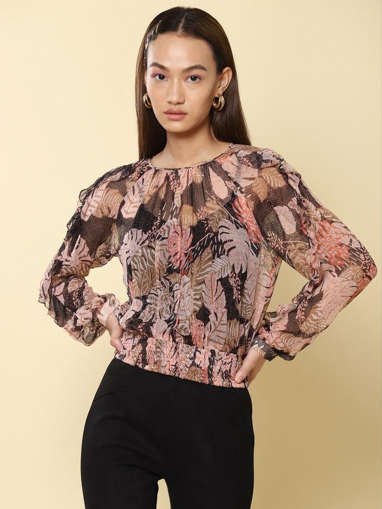 Black Tropical Print Blouson Top