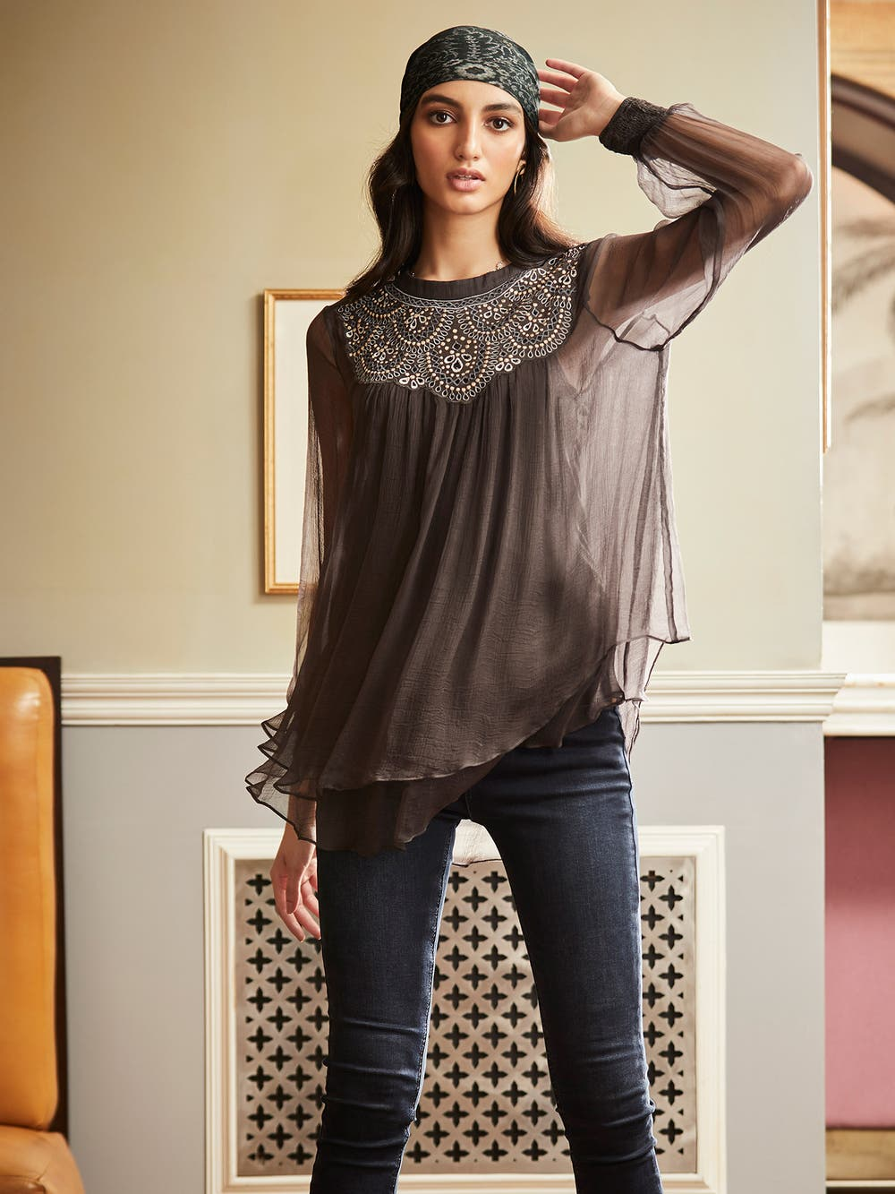 Anthra Grey Embroidered Peasant Blouse