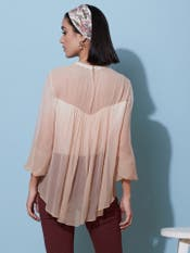 Ecru Embroidered Ombre Top