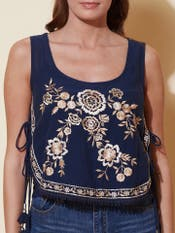 Navy Blue Embroidered Crop Top