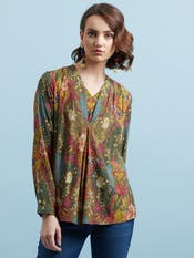 Olive Green Printed Top