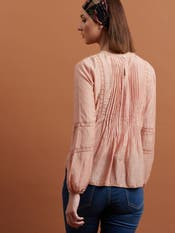Peach Embroidered Crepe Top