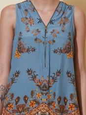 Denim Blue Floral Print Top