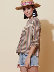 Stripe-on-Stripe Printed Top