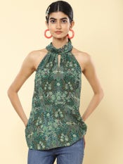 Emerald Green Floral Print Halter Top
