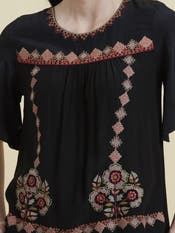 Black Rose Embroidered Top