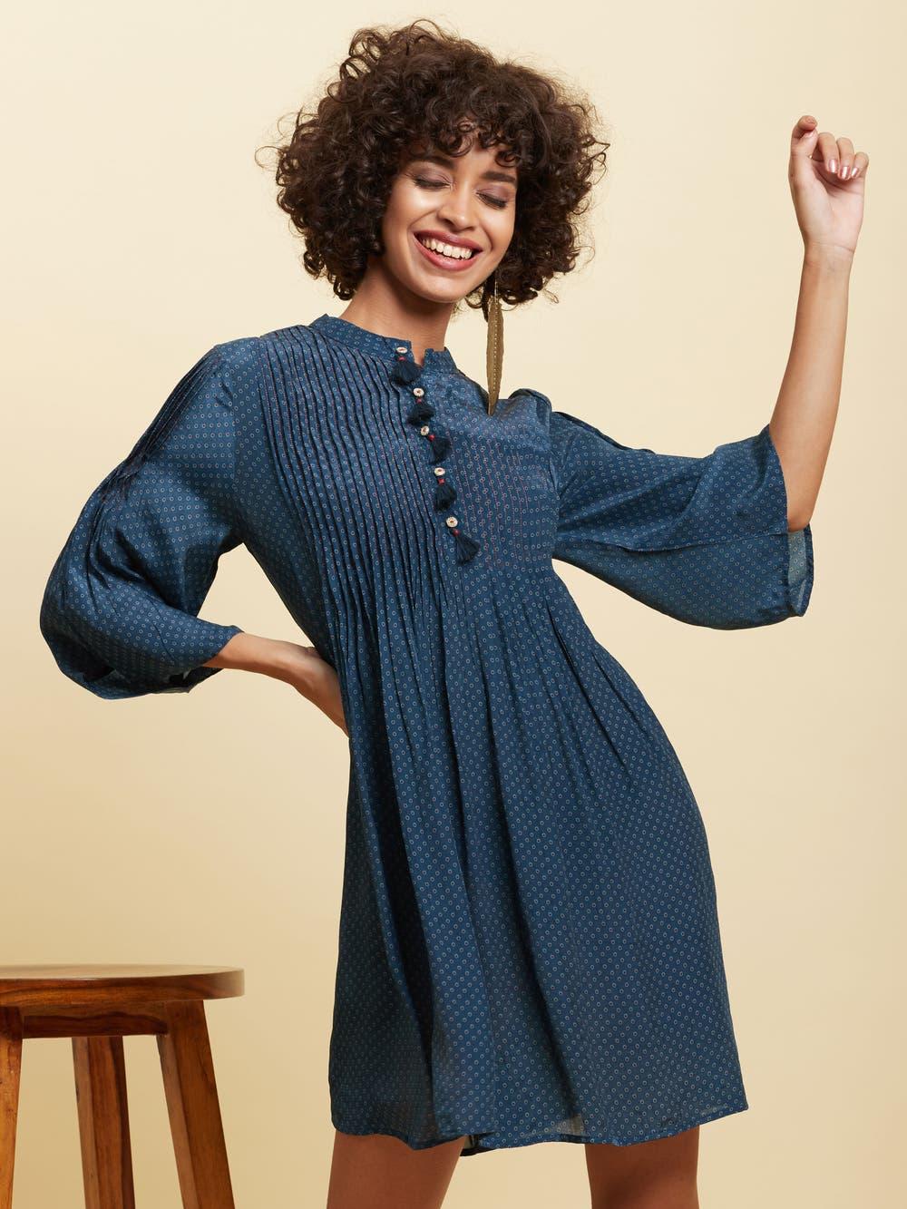Blue Polka Short Dress