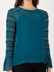 Petrol Blue & Gold Embroidered Top
