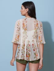 White Floral Print Tiered Top