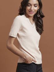 Nude Pink Checkered T-Shirt