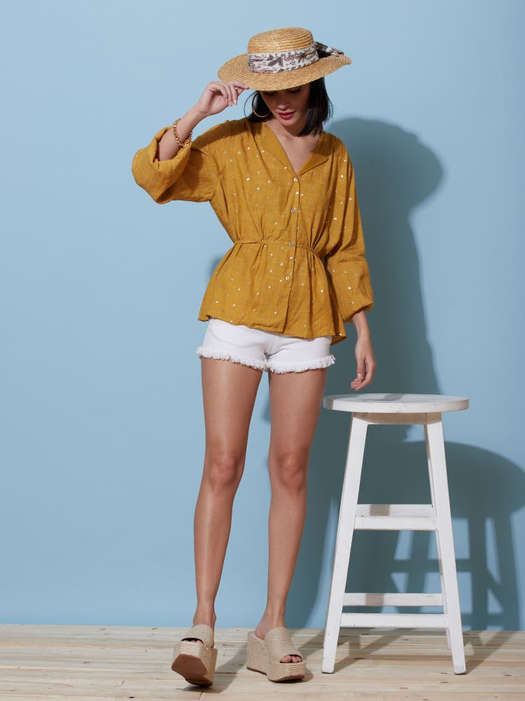 Mustard Sequin Tie-Up Top