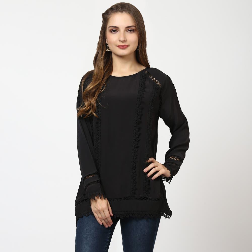 Black Full Sleeves Crepe Top