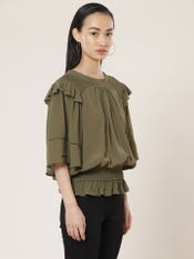 Olive Green Smocked Top