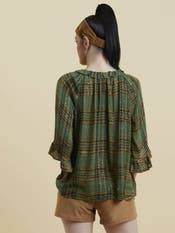 Olive Ruffle Neck Sequin Top