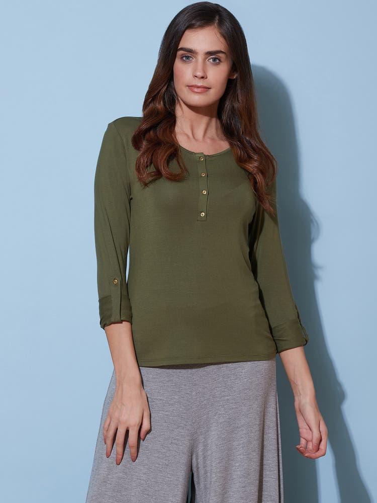 Khaki Green Henley T-Shirt
