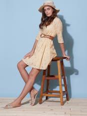 Ecru Schiffli Short Dress