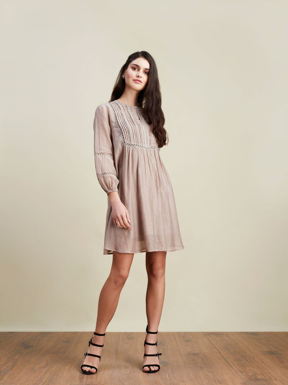 Slate Grey Blouson Short Dress