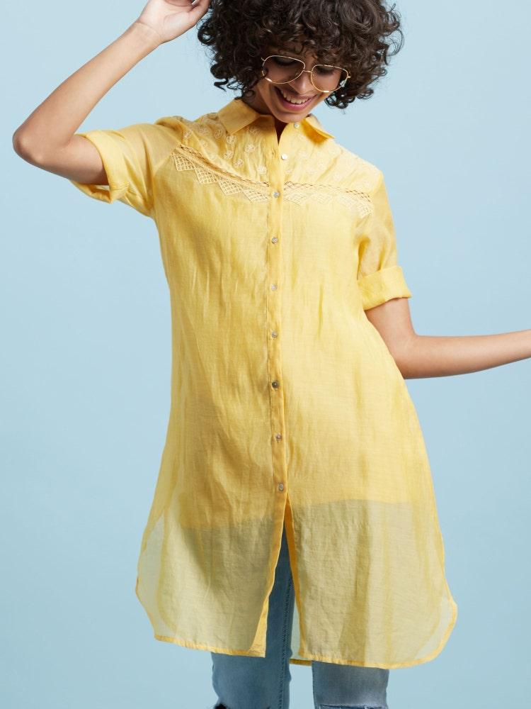 Lemon Yellow Embroidered Tunic
