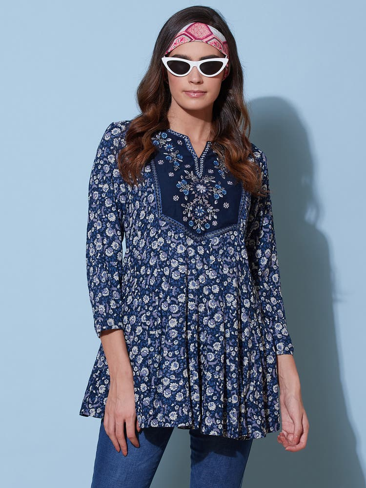 Navy Blue Floral Embroidered Tunic