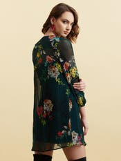 Green Floral Print Short Dress