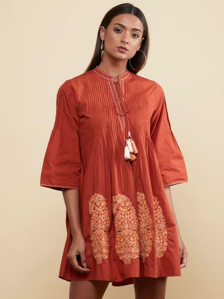 Rust Paisley Dress