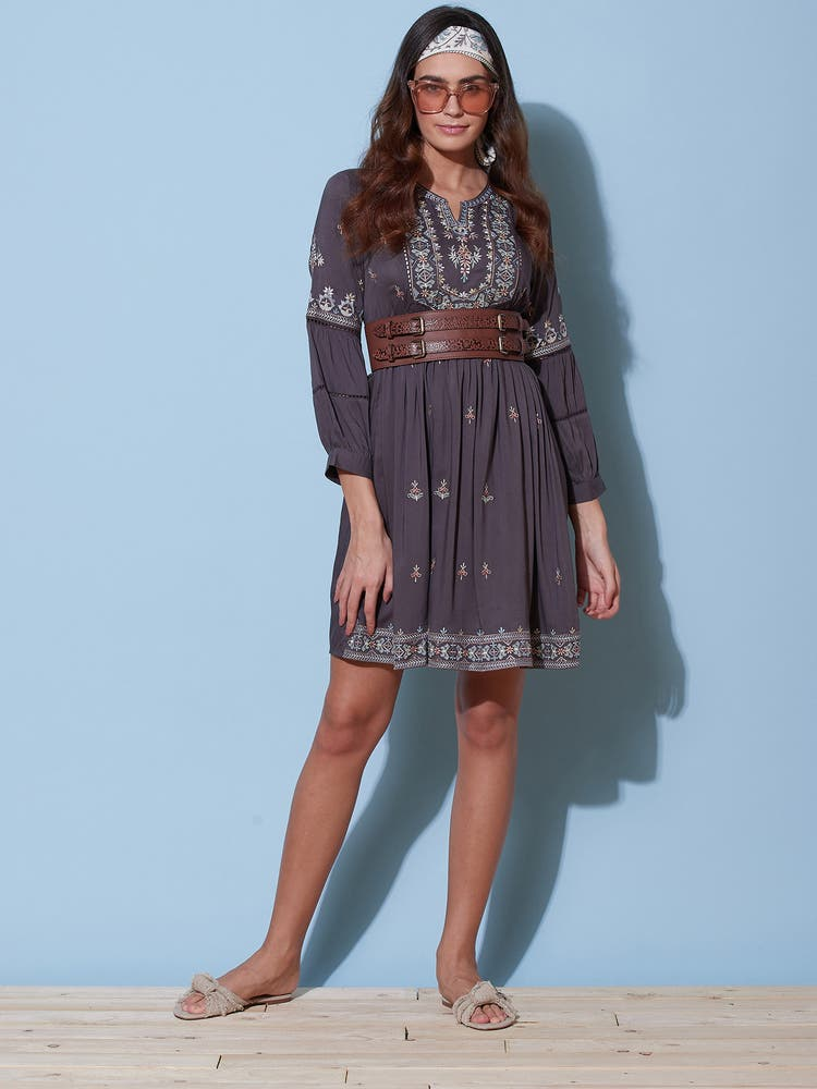 Grey Embroidered Short Dress