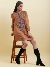 Brown Floral Embroidered Short Dress